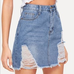 Dresses & Skirts - ☀️SALE☀️ High Waisted Distressed Jean Skirt NWOT